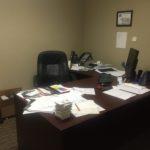 cluttered work desk