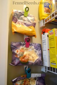 Organized pantry chip clips